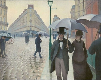 """11 x 14"""" canvas art print.  By  Gustave  Caillebotte a Paris Street on a Rainy Day in France.  Dated 1877"""