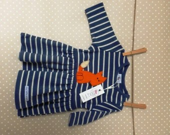 Cotton stripey dress with fox applique for a newborn girl 0-1mths up to 7.8 lbs