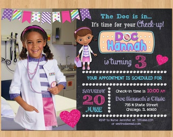 Doc McStuffins Birthday Invitation w/ Photo, Doc McStuffin Invitation, Doc McStuffins Birthday Party Invitation Printable Invite for Girl