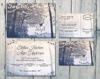 Printed Card | 50-100 Sets | In the Backyard Wedding Invitation and Reply Card Set - Wedding Stationery - ID390