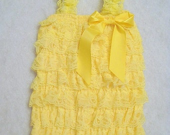 Baby Toddler Ruffle Petti Romper With Straps Yellow Size Medium
