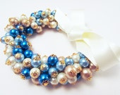 Cobalt Blue Powder Blue Champagne Gold and Ivory Pearl Bead Cluster Bracelet with Ivory Satin Ribbon Wedding Bracelet Blue Bracelet