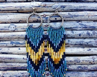 Boho Beaded Earrings, Long Fringe Earrings, Seed Bead Earrings, Native American Inspired Jewelry