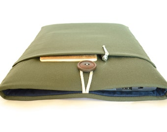 Army Green iPad Air 2 Sleeve, Dell Venue 8 Pro, Asus Transformer Case, LG G Pad 8.3 Padded with Pocket