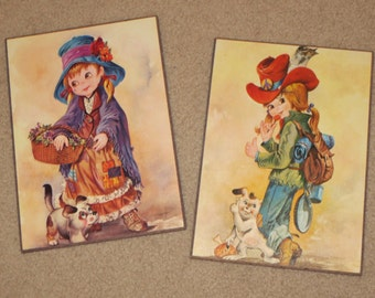 Vintage 1970's Little Girl Pictures, Girls Room Decor, Girls Wall Plaque