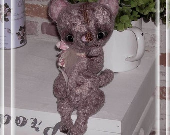 OOAK Artist Bear-Vintage Bear...little cat Lena...Unikat ca.26cm...a sweet old cat
