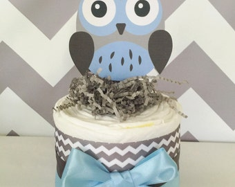 Owl Mini Diaper Cake in Blue and Grey, Owl Baby Shower Centerpiece in Blue and Gray
