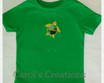 Monogram Unisex Shirt/Lil' Turtle Appliqued Monogrammed T-Shirt/Unisex Shirt/Turtle Appliqued Monogrammed T-Shirt/Turtle Shirt/Beach Shirt