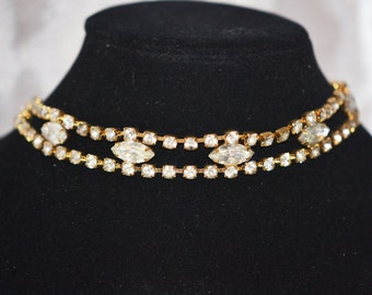 Vintage Choker Style Necklace 1970s Era Clear Rhinestone in Gold Tone