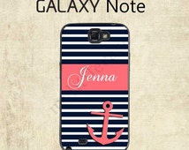 Samsung Galaxy Note 4 Case  - Navy Blue Coral Stripe Anchor Galaxy S7 Case - Personalized Galaxy Note 5 Case - Galaxy Note 7 Case