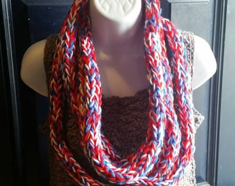 Finger knit infinity scarf (red, white and blue), handcrafted knit scarf, infinity loop