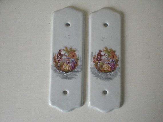 Vintage porcelain finger plates door plates by for Door finger plates