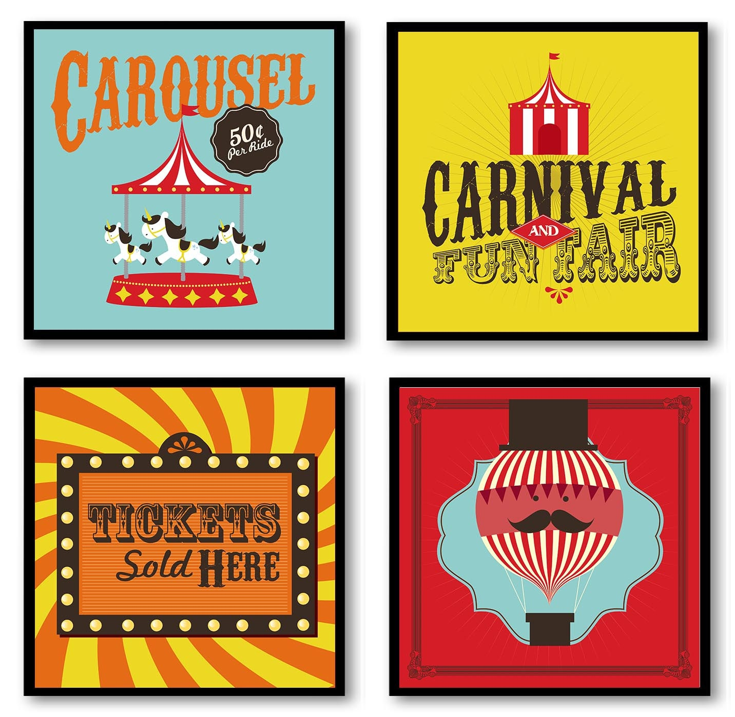 Carnival Nursery Art Fair Nursery Print Child Baby Art Set of 4 Circus Tent Tickets Balloon Yellow B