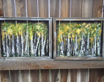 Aspen Painting,Tree Painting, Aspen Tree Painting, Birch Tree Art, Original Painting, Recycled wood frame