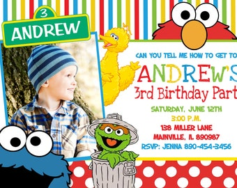 Sesame Street Birthday Party Invitation -  Digital Printable File
