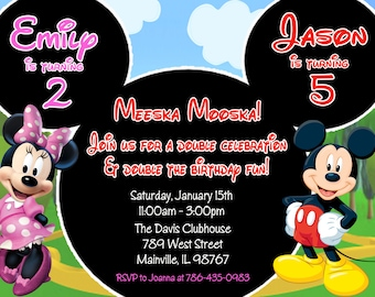 Minnie Mouse Mickey Mouse Double Twins Birthday Party Invitation - Digital or Printed
