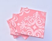 Pack of 20 3.5x3.5x1 Pink Damask Print Cotton Filled Jewelry Boxes - Damask Print Jewelry Boxes - Cotton Filled Jewelry Presentation Boxes
