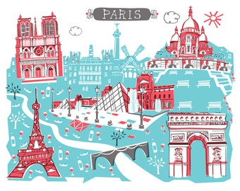 Wall Art-Paris-Art Print-3 Color-City Illustrations-10x8-Red-Turquoise-Grey