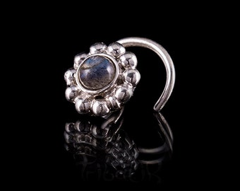 Silver flower nose stud,silver nose stud,stone nose studs,nose jewelry,body jewelry (code 1)