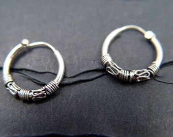 STERLING HOOP Earrings VINTAGE