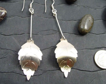 DANGLE LEAF STERLING Silver Earrings With French Ear Wires