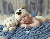 Photo Prop - Newborn Baby Puppy Dog Toy, Beanie and Diaper Cover Photo Prop Set - Made to Order