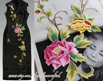 Pink Yellow Flower Vine Applique Patch appliques trim Iron on Applique for wedding dress Shirts Trousers Skirt formal full dress