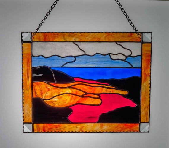 Volcano Flowing Healing Hand Inspirational Stained Glass Panel Art with a Message Made in Hawaii Deesigns by Harris Free Gift Wrap