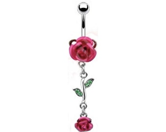 Belly Ring Beautiful Long Stem PINK ROSE Pink Gem 14 gauge Navel Piercing Stainless Steel Body Jewelry