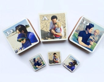 Father's Day Personalized DAD Photo Wood Blocks and Magnets Package, Photo Letter Blocks, Gift for dad, Set of 3, Mother's day