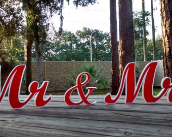 Mr and Mrs Wedding Sign, Custom Wedding Sign, New Wedding Item, Red, Reception Table, Freestanding