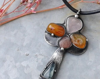 Handmade  Art Necklace on Leather Cord