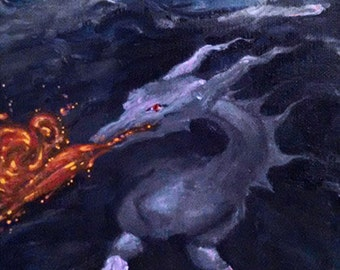 Blue Dragon Breathing Fire in a Storm Cloud Original Acrylic Painting on Canvas Fantasy Art