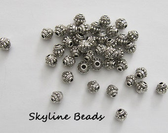 Bicone Tibetan Style Beads, Antique Silver, 7.5mm x 6mm - Lots of texture and detail!
