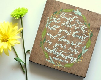 Proverbs 3:5 Hand Painted Wooden Wall Plaque