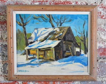 "Daisy Marguerite Hughes ""Barn in the Snow"" Original Oil Painting c.1930's Signed"