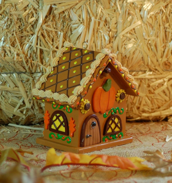 Pumpkin Spice Wooden Gingerbread House Ornament