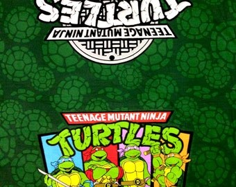 "NINJA TURTLES TMNT Green Panel Fabric Polycotton - L42"" x W34"" inches"