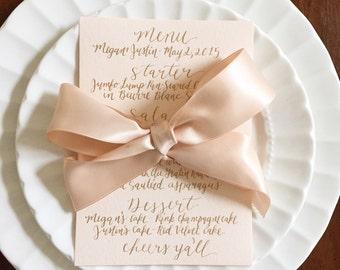 custom calligraphy menu card