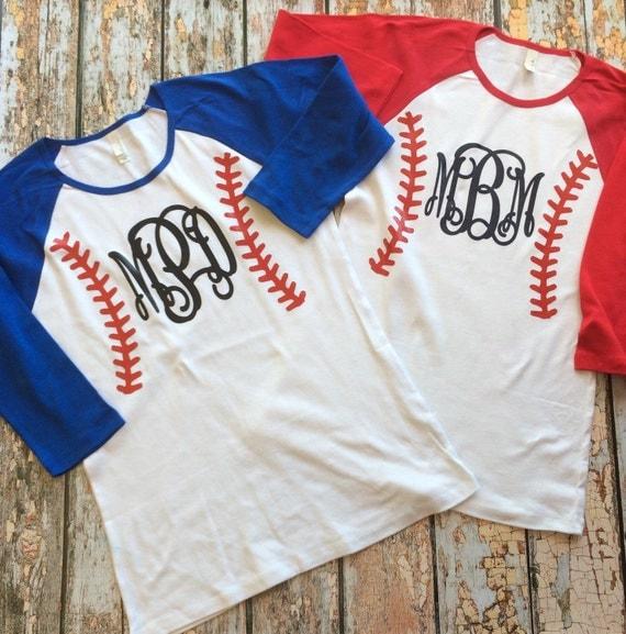 Baseball monogram raglan shirt 3 4 sleeve custom baseball Designer baseball shirts