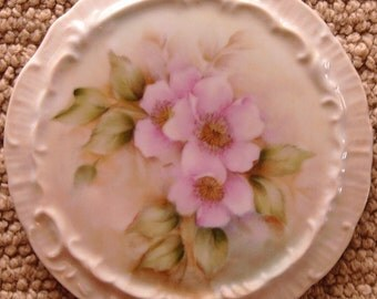 Two Porcelain Hand Painted Trivets -  Orange Birds and Pink Tea Roses