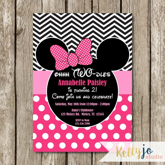 Pink Minnie Mouse Oh Twodles Birthday Invites Pink Minnie
