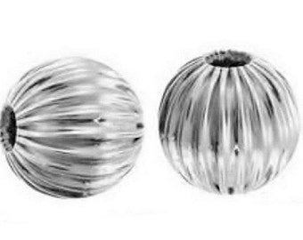 Sterling Silver .925 Seamless Corrugated Round Beads, 9 mm, Smooth Surface and Brilliant Sterling Silver Luster, Package of  4