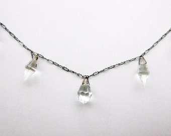 Art Deco flapper faceted teardrop crystal paperclip chain choker necklace 16 inches