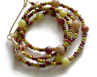 Boho Wrap Bracelet, Beaded Wrap Bracelet, Tribal Style Bracelet