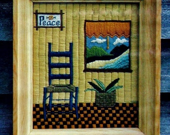Seaside Beach Cottage Needlepoint Picture Vintage Needlepoint Pattern Download