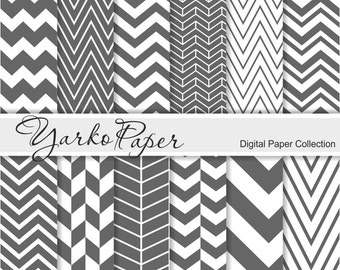 Gray Chevron Digital Paper Pack, Grey Chevron Scrapbook Paper, Digital Background, 12 Sheets, Personal And Commercial Use - Instant Download