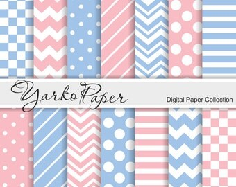 Baby Pink And Baby Blue Digital Paper Pack, Chevron, Polka Dot, Basic Geometric Paper, Digital Background, 14 Sheets - Instant Download