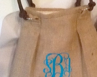 Elegant Monogram Pleated Burlap Purse/Tote