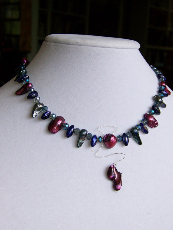 Freshwater Pearl Pendant Necklace Set, magenta gray purple blue crystals silver, #62